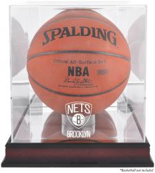 NBA Brooklyn Nets Mahogany Logo Basketball Display Case with Mirror Back - Mounted Memories