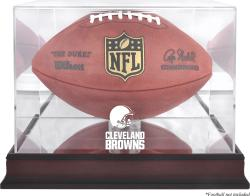 Cleveland Browns Mahogany Football Logo Display Case with Mirror Back