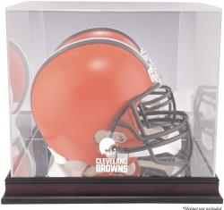 Cleveland Browns Mahogany Helmet Logo Display Case with Mirror Back