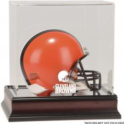 Cleveland Browns Mahogany Logo Mini Helmet Display Case