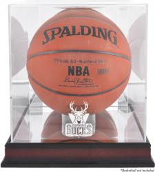 Milwaukee Bucks Mahogany Team Logo Basketball Display Case with Mirrored Back - Mounted Memories
