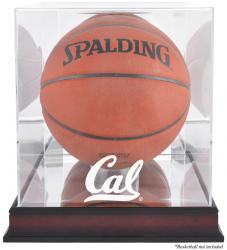 Cal Bears Mahogany Antique Finish Basketball Display Case with Mirror Back