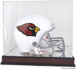 Arizona Cardinals Mahogany Helmet Logo Display Case with Mirror Back