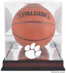 Clemson Tigers Mahogany Antique Finish Basketball Display Case with Mirror Back - Mounted Memories