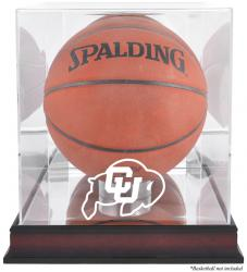 Colorado Buffaloes Mahogany Antique Finish Basketball Display Case with Mirror Back - Mounted Memories