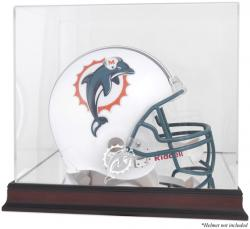 Miami Dolphins Mahogany Helmet Logo Display Case with Mirror Back