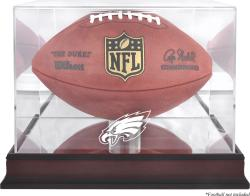 Philadelphia Eagles Mahogany Football Logo Display Case with Mirror Back