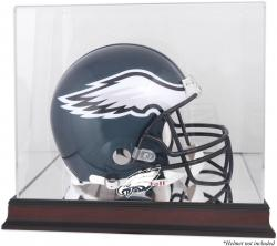 Philadelphia Eagles Mahogany Helmet Logo Display Case with Mirror Back