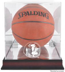 Florida State Seminoles (FSU) Mahogany Antique Finish Basketball Display Case with Mirror Back - Mounted Memories