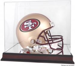 San Francisco 49ers Mahogany Helmet Display Case with Mirror Back - Mounted Memories  - Mounted Memories