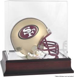 San Francisco 49ers Mahogany Logo Mini Helmet Display Case - Mounted Memories