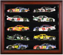 10-Die-Cast Car Mahogany Framed Wall Mount Display Case - Mounted Memories