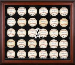 Los Angeles Angels of Anaheim Logo Mahogany Framed 30-Ball Display Case - Mounted Memories