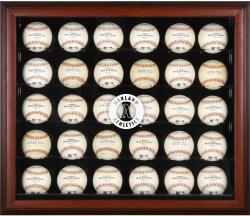Oakland Athletics Logo Mahogany Framed 30-Ball Display Case