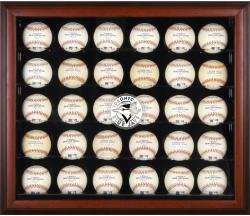 Toronto Blue Jays Logo Mahogany Framed 30-Ball Display Case - Mounted Memories
