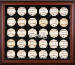 Atlanta Braves Logo Mahogany Framed 30-Ball Display Case - Mounted Memories