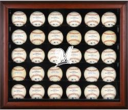 Milwaukee Brewers Logo Mahogany Framed 30-Ball Display Case - Mounted Memories