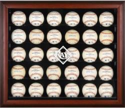 Tampa Bay Rays Logo Mahogany Framed 30-Ball Display Case