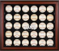San Francisco Giants Logo Mahogany Framed 30-Ball Display Case