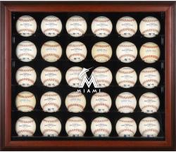 Miami Marlins Logo Mahogany Framed 30-Ball Display Case