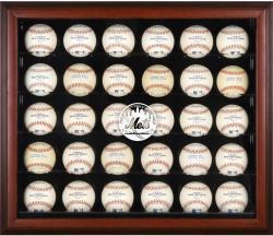 New York Mets Logo Mahogany Framed 30-Ball Display Case
