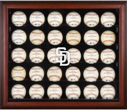 San Diego Padres Logo Mahogany Framed 30-Ball Display Case