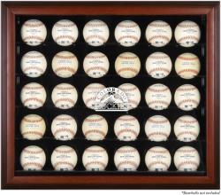 Colorado Rockies Logo Mahogany Framed 30-Ball Display Case