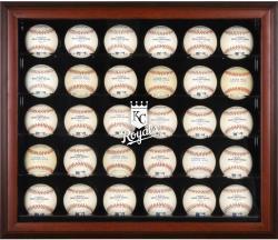 Kansas City Royals Logo Mahogany Framed 30-Ball Display Case