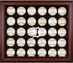 Detroit Tigers Logo Mahogany Framed 30-Ball Display Case