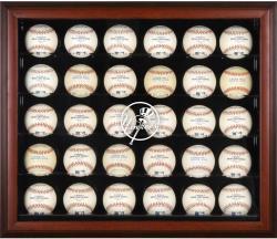 New York Yankees Logo Mahogany Framed 30-Ball Display Case
