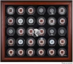 Chicago Blackhawks 30-Puck Mahogany Display Case - Mounted Memories