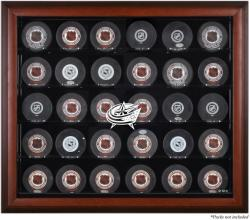 Columbus Blue Jackets 30-Puck Mahogany Display Case - Mounted Memories