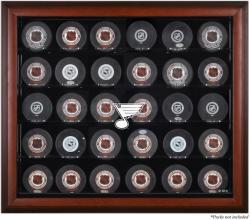 St. Louis Blues 30-Puck Mahogany Display Case