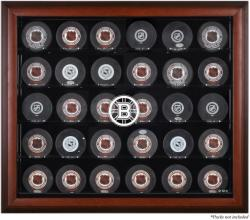 Boston Bruins Mahogany Framed 30 Hockey Puck Logo Display Case