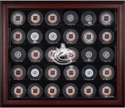 Vancouver Canucks 30-Puck Mahogany Display Case