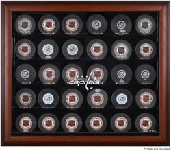 Washington Capitals Mahogany Framed 30 Hockey Puck Logo Display Case - Mounted Memories