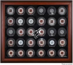 Arizona Coyotes 30-Puck Mahogany Display Case - Mounted Memories