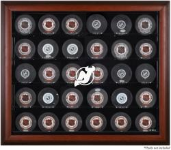 New Jersey Devils 30-Puck Mahogany Display Case
