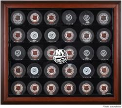 New York Islanders 30-Puck Mahogany Display Case - Mounted Memories