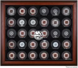New York Islanders 30-Puck Mahogany Display Case