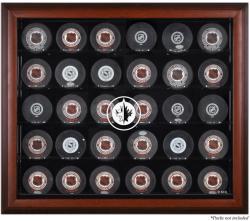 Winnipeg Jets Mahogany Framed 30 Hockey Puck Logo Display Case