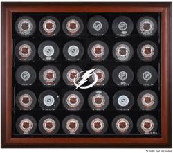 Tampa Bay Lightning 30-Puck Mahogany Display Case