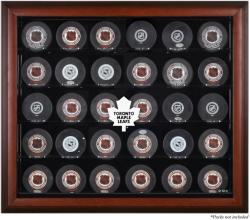 Toronto Maple Leafs 30-Puck Mahogany Display Case - Mounted Memories
