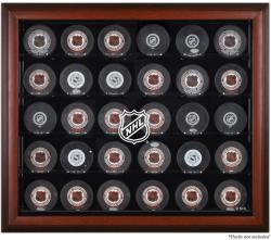 NHL Shield 30-Puck Mahogany Display Case - Mounted Memories