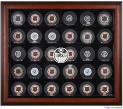 Edmonton Oilers 30-Puck Mahogany Display Case - Mounted Memories