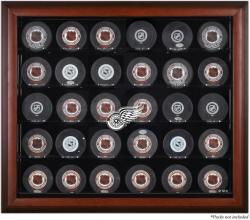 Detroit Red Wings 30-Puck Mahogany Display Case - Mounted Memories