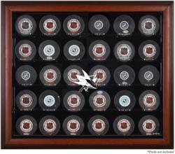 San Jose Sharks 30-Puck Mahogany Display Case - Mounted Memories