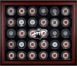 Minnesota Wild 30-Puck Mahogany Display Case - Mounted Memories