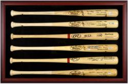 Baseball Bat Display Case with Mahogany Frame for 6 Bats - Mounted Memories