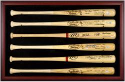 Baseball Bat Display Case with Mahogany Frame for 6 Bats